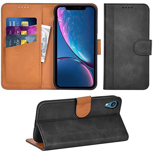 Adicase iPhone XR Hülle Leder Wallet Tasche Flip Case Handyhülle Schutzhülle für Apple iPhone XR (Dunkelgrau) Leder Apple Wallet