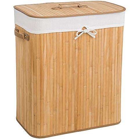 TecTake Cesta de bambú para la ropa 100L - bolsa de lavandería extraíble - natural 53 x 33,5 x 63cm