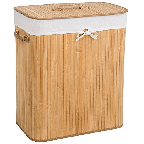 TecTake Panier à linge robuste corbeille en bambou bac à linge pliable + sac à linge amovible - diverses modèles - (100L naturel | no. 401834)