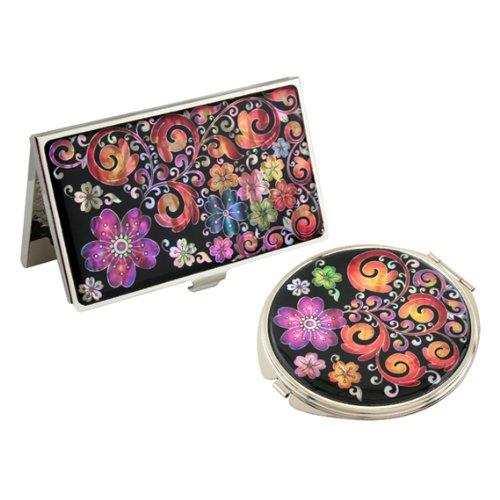 Antique Alive Nacre Violet Arabesque Fleur pour cartes de crédit de visite avec jeu de miroir Compact (B121)
