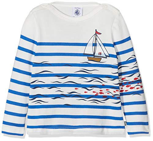 Petit Bateau Baby-Jungen T-Shirt Tee ML Jour, Mehrfarbig (Marshmallow/PERSE 01) 18-24 Monate