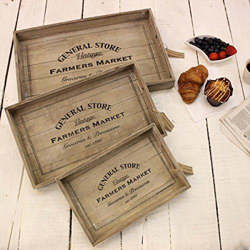 Juego de 3bandejas de madera General Store Farmers Market Vintage re