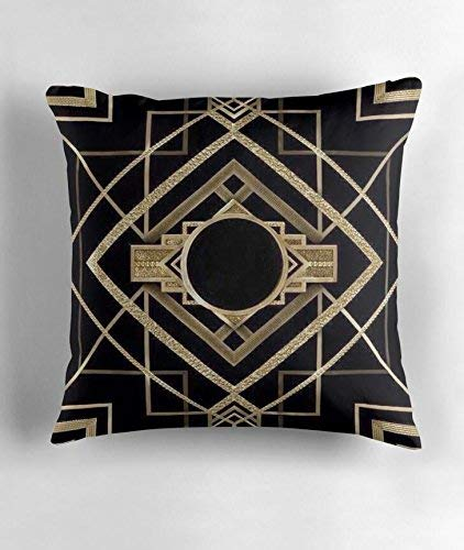 0 era,The Great Gatsby,Gold,Black,Pattern,elegant,chic,modern,trendy Square Decorative Throw Pillow Case Cushion Cover 18 X 18 Inch ()