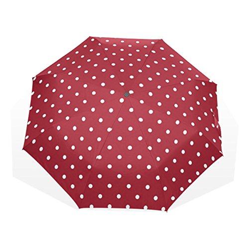 GUKENQ - Paraguas de Viaje, diseño de Lunares, Color Blanco, Ligero, antirayos UV, para Hombres, Mujeres, niños, Resistente al Viento, Plegable, Paraguas Compacto
