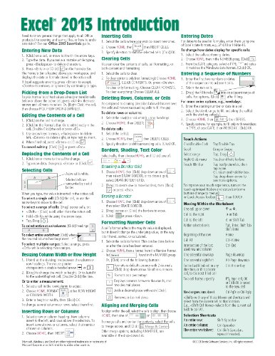 Microsoft Excel 2013 Introduction Quick Reference Guide (Cheat Sheet of Instructions, Tips & Shortcuts - Laminated - Excel 2013 Cheat Sheet