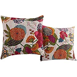 Handmade White Set of 2 Vintage Cushion Cover 16x16 Fruit Kantha Work Pillow Covers Unique Cotton Throw Pillow By Rajrang