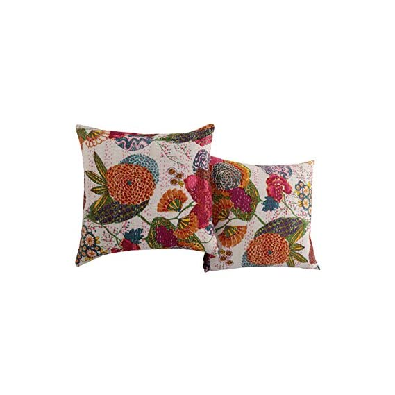 RAJRANG Sofa Cushion Covers 16x16 Inch Decorative Set of 5 Brown Pillow Cover Ethnic Lace Work Hand Made (40 x 40 cm) Cotton Cushions