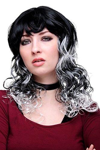 Karneval Fasching Halloween Schwarz graue Strähnen, aufregend und sexy gelockte Spitzen Hexe Gothic Lolita DT219-P103-68
