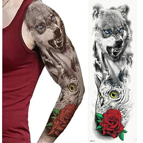 tzxdbh Große Vollarm-Tätowierung Lion Crown King Rose Wasserdichter Tattoo-Aufkleber Wild Wolf Tiger Männer Totem Tattoo- Tätowierungen von TQB013 -