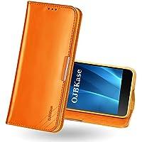 OJBKase Funda Sony Xperia Z5, Carcasa Piel de Cuero Genuino con Tapa [Tarjetas de Crédito],Funda Libro de Cuero Genuino Premium diseñada para Sony Xperia Z5 (Marrón)