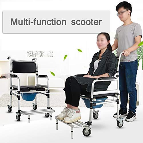 SUN RNPP Bettkommoden Toilettenstühle transportstuhl,Rollen mit feststellrädern und abnehmbarem gepolstertem Sitz,höhenverstellbar,faltbar