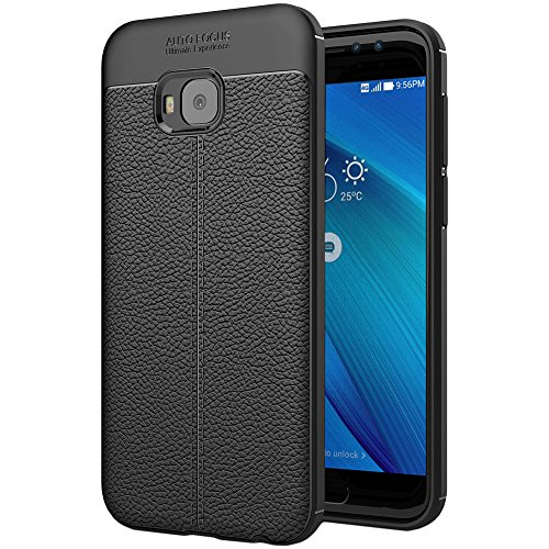 ebestStar - Asus Zenfone 4 Selfie Pro Hülle ZD552KL Lederhülle Design TPU Handyhülle Schutzhülle, Flex Silikon Case, Schwarz [Phone: 154 x 74.8 x 6.9mm, 5.5'']