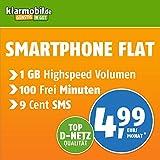 Klarmobil Smartphone Flat M mit 1 GB Internet Flat max. 21,6 MBit/s, 100 Frei-Minuten in alle deutschen Netze, EU-Roaming, 24 Monate Laufzeit, monatlich nur 4,99 EUR, Triple-Sim-Karten