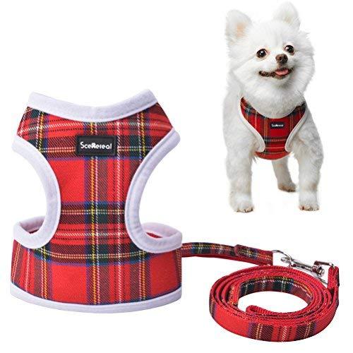 SCENEREAL Kleine Hundegeschirr und Leine Best Verstellbar Cute Weicher Mesh Plaid Katze Geschirr Puppy Weste für Kätzchen Tiny Pets, M, Rot Kariert Hot Pink Plaid Design