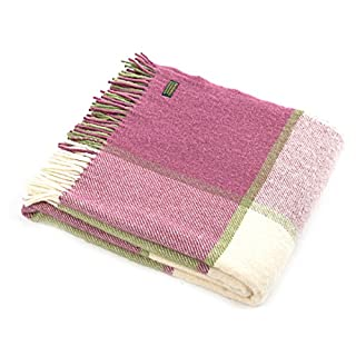 Block Check - pure new wool - knee rug throw blanket - Apple Green & Raspberry Pink - BRITISH MADE by Tweedmill Textiles