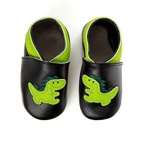 smileBaby Premium Leder Lauflernschuhe Krabbelschuhe Babyschuhe Schwarz Dinosaurier 18 bis 24 Monate (Leder Baby Hausschuhe)