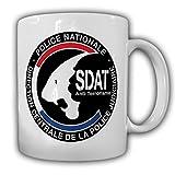 DCPJ SDAT Direction centrale de la Police judiciaire Polizei Anti Französische Terror Einheit Frankreich Abzeichen Wappen - Tasse Kaffee Becher #18147