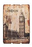 Holzbild Holzschild London BigBen England Schild 60x40cm - Wandbild Dekoschild Vintage Bild Holz Holzlatten Holztafel Wanddeko Wandobjekt Wandschild