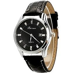 Wrist Watch - Beinuo Men Boy Sport Analog Quartz Alarm Auto Day Date Display Wrist Watch Leather band Black+Black