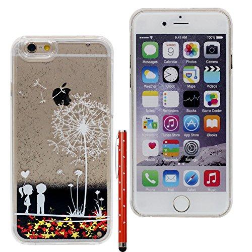 Case iPhone 6S Liquide Eau Coque, Transparente Dur Étui Protection avec Écoulement Étoiles Poudre noire Désign pour Apple iPhone 6 6S 4.7 inch, Pissenlit et amoureux Motif Case Avec 1 stylet color-7