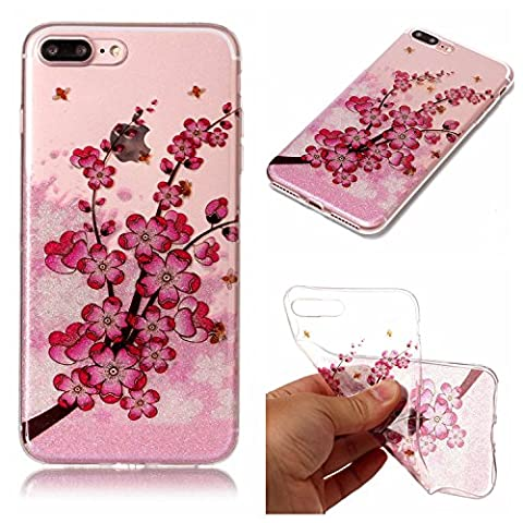 iphone 7 Plus Case, iphone 7 Plus Silicone TPU Transparent Cover, Cozy Hut iphone 7 Plus Luxury Shining Bling Printing Drawing Design Scratch Resistant TPU Bumper Clear Flexible Silicone Back Soft Protective Case Cover for iphone 7 Plus - Plum