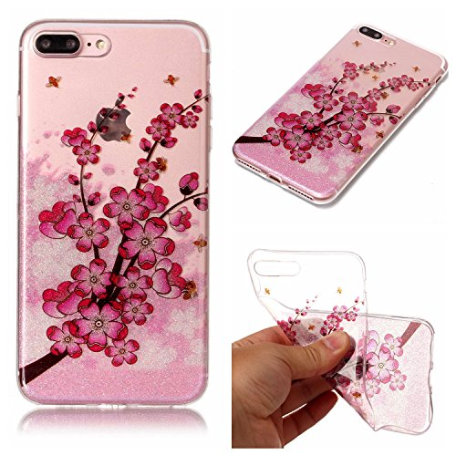 Linvei Hülle für Apple iPhone 7 Plus(5.5 Zoll) - Buntes Muster Design TPU Silikon Backcover Case Handy Schutzhülle-Bunte Federn Pflaumenblüte
