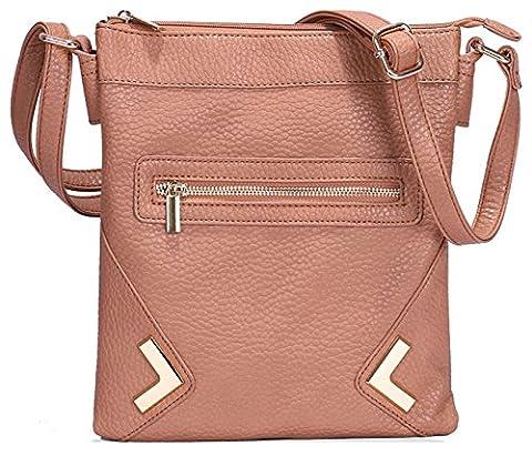 Kukubird Faux Leather Metal-Point & Zip Detail Crossbody Messenger Bag - Tan
