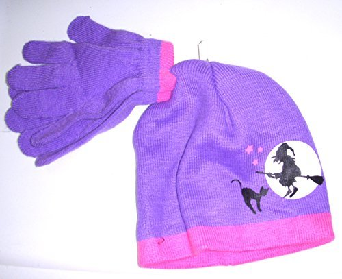 purple-pink-witch-moon-halloween-hat-gloves-set-child-osfm-nip