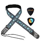 Moreyes Sangle de guitare Coton Jacquard Sangle de guitare avec extrémités en cuir pour guitare acoustique, électrique et basse bleu