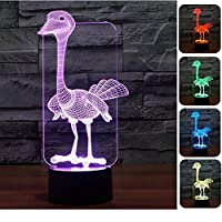 New 3D Animal Ostrich Night Light Touch Table Desk Lamps 7 Color Changing Illusion Lights with Acrylic Flat ABS Base USB Charger for Christmas Gift