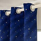 WOLTU VH5832bl-2, 2er Set Vorhänge Gardinen Blickdicht Ösen mit Sternenhimmel Muster, Verdunklungsvorhang für Wohnzimmer Kinderzimmer Schlafzimmer, 135x245 cm Blau