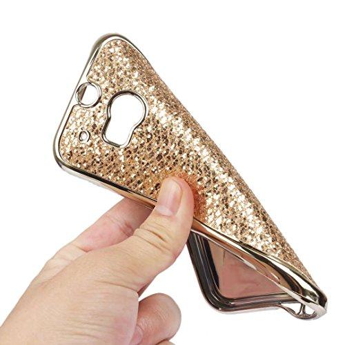 Cover iPhone 6,Custodia iPhone 6S,Leweiany Moda Lusso 3D Belle iPhone 6 6S Cover Silicone Forma Geometrica con Brillantini Bling Glitters Paraurti in Placcatura TPU Morbida Antiuroto Ultra Sottile Fle Oro