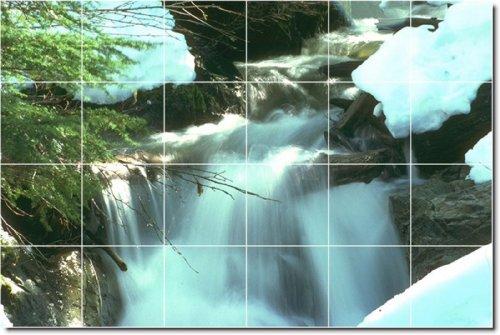 CASCADAS FOTO PERSONALIZADO TILE MURAL 13  17X 25 5CM CON (24) 4 25X 4 25AZULEJOS DE CERAMICA