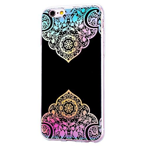 GrandEver iPhone 6 Plus / 6S Plus Glitzer Hülle Silikon Handyhülle Gel TPU Bumper Bunt Mandala Schutzhülle Schwarz Handytasche Anti-Kratzer Rückschale Ultra Dünnen Soft Case Cover - C A