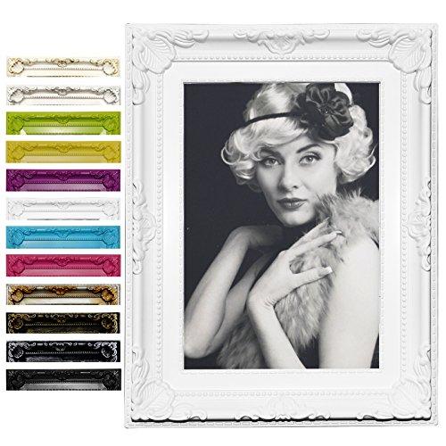 Bilderrahmen Fotogalerie #51 , Kunststoff Rahmen , Glas Vorderseite , Antik Barock , zum Aufstellen im Querformat und Hochformat , 12 Farben in 5 Größen (Weiß , 15x20)