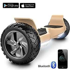 Challenger Basic Monopattino Elettrico Autobilanciato, Balance Scooter Skateboard, con Due Ruote 8.5 in, Bluetooth, App e LED,Inclusa Batteria e Borsa,15Km/H (Oro)