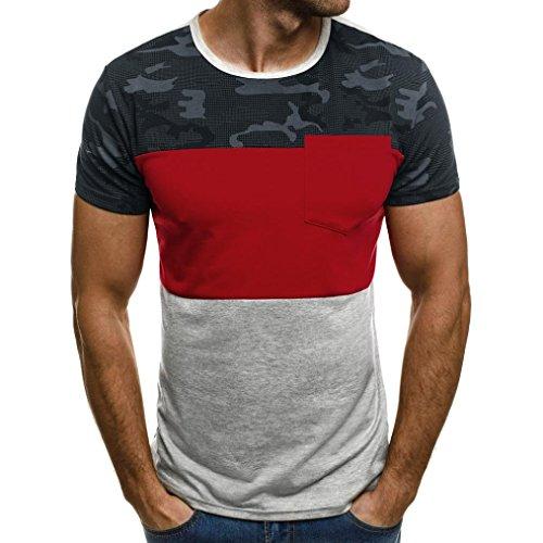 Basic T-Shirt Herren Bluse Mode 2018 Sommer Sonnena Herren Tops Camouflage Oberteile Slim Kurzarm Bluse Männer Tanktop Casual Muskel Schlank Kurzarm Hemden mit Tasche Sportbekleidung Atmungsaktiv (XL, Rot 1)