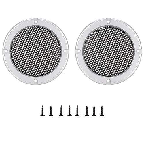 ASHATA 2 Stück 6,5 Zoll Audio Lautsprecher Cover dekorative Kreis Metallgitter Schutzhülle für Autolautsprecher (Black+Silver) Silver Circle Audio