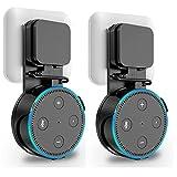 Outlet Wandhalterung mit Kurzem Ladekabel für Alexa Echo Dot, platzsparend, Einfach zu Nehmen abheben, Keine chaotisch Drähte Keine Schrauben, Schwarz, 2 Pack