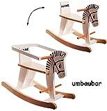 XL Holz Schaukelpferd - mit abnehmbaren Sicherheitsring - incl. Name - 9 Monate bis 4 Jahre - Schaukeltier - weiß & natur - Holzschaukelpferd - umbaubar & mitwachsend - Kind Schaukel - für Kinder Mädchen Jungen / Kinderschaukel - Ring - Sitz - Schaukelpferdchen - Babyschaukel - Schaukelspielzeug