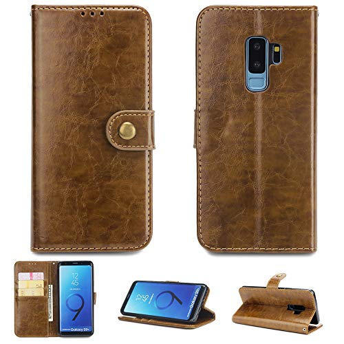 FugouSell Samsung Galaxy S9 Plus Case, [ Portable Wallet ] [ Slim Fit ] Heavy Duty Protective Back Shell Flip Cover Wallet Case for Samsung Galaxy S9 Plus - Brown