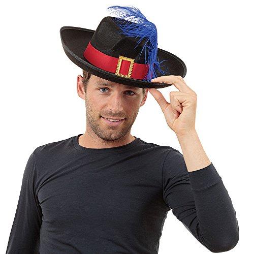 Bristol Novelty bh174Musketier Hut schwarz Feder, eine Größe