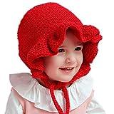 ELE GENS Baby Kinder Mädchen Strickmütze Wintermütze Mütze Prinzessin (S 40-46cm, Rot)