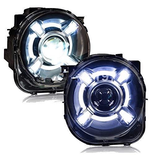 AIJICHE Fari HID a Forma di Auto per fari Jeep LED traditore per Testa Lampada Renegade Angelo Fari LED ERL Doppia Lente Xenon