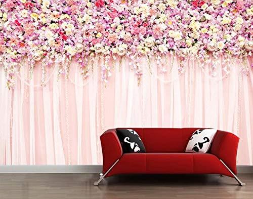 Minyose Custom wedding room decoration 3d wallpaper warm pink flower rose TV background wall paper 3d wallpaper-300cmx210cm