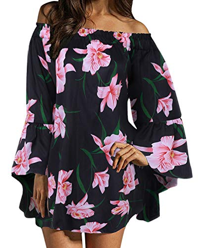 ZANZEA Damen Schulterfrei Langarm Kleid Blumen Lose Oberteil Oversize Mini Kleider 05-schwarz Small -