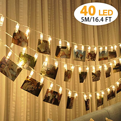 Cookey 40 LED Photo Clips Lumières Chaîne 5 Mètres Guirlande Lumineuse Blanche Chaude Alimentée par USB Photos Cartes Images Suspendues Peg Lights Décoration pour Noël Saint Valentin Fêtes Lumières