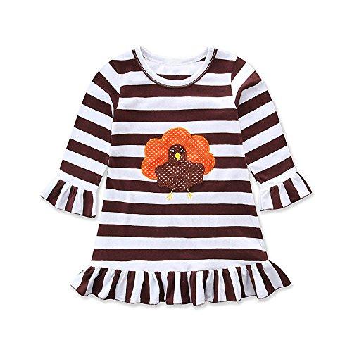 Goosuny Thanksgiving Baby Kleid Kleinkind Druck Streifen Sommerkleid Outfit Gestreiftes Minikleid Kurze Abendkleider Freizeitkleid Schöne Festliche Kleider Niedlich Kleidung(Kaffee,100)