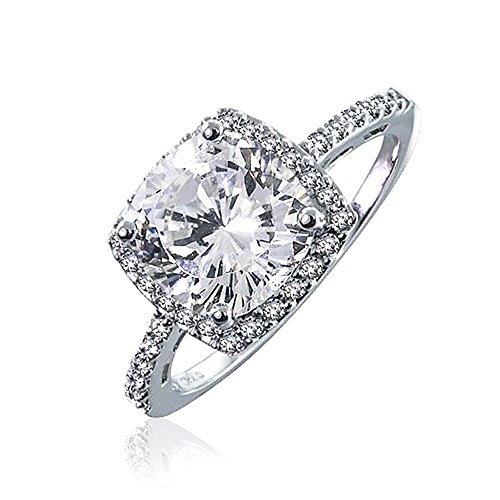 Verlobungsring Halo Cz (Bling Jewelry Vintage Style Silber CZ Kissen Cut Engagement Ring)