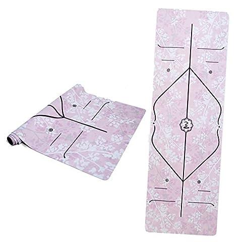 Here&There Premium Suede Microfiber Travel Yoga Mat(183cmx61cmx1mm, Fairy Purple) with Body Alignment Line, Non-slip, No Mat Towel Required, Ideal for Hot Yoga, Bikram, Pilates, Ashtanga, Vinyasa, Sweaty Excersizes